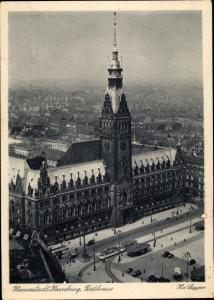 Ak Hamburg, Ansicht des Rathauses