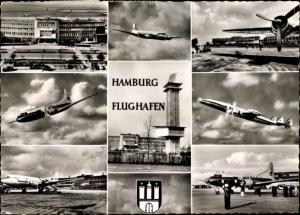 Ak Hamburg Nord Fuhlsbüttel, Flughafen, Passagierflugzeuge