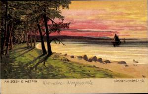 Künstler Ak Worpswede in Niedersachsen, Sonnenuntergang, an Seen und Meeren