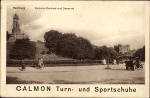 Ak Hamburg Mitte St. Pauli, Bismarckdenkmal und Seewarte, Calmon Turn- und Sportschuh