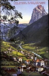 Ak St. St. Ulrich in Gröden Ortisei Südtirol, Grödental, Langkofel, Sellagruppe