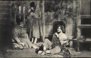 Künstler Ak Popow, In der Kälte, Gefangener, Bewacher
