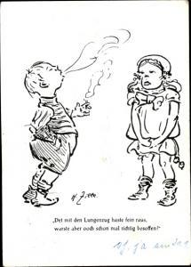 Künstler Ak Zille, H., Det mit den Lungenzug haste fein raus