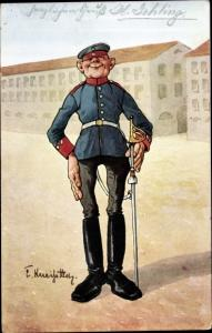 Künstler Ak Kneiss, Emil, Soldat in Uniform