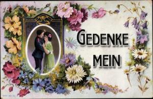 Ak Gedenke Mein, Soldat, Junge Frau, Blumen
