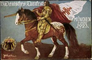 Künstler Ak München Bayern, 13. Deutsches Turnfest 1923, Ritter, Reiter