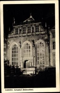 Ak Gdańsk Danzig, Artushof, Beleuchtet