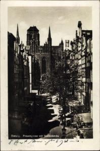 Ak Gdańsk Danzig, Frauengasse, Marienkirche