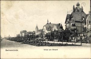 Ak Świnoujście Swinemünde Pommern, Villen am Strand