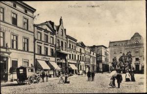 Ak Iława Deutsch Eylau, Marktplatz, G. J. Först, Hotel