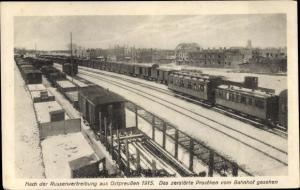 Ak Prostki Prostken Ostpreußen, Blick vom Bahnhof aus, 1915, Winter, Kriegszerstörungen, Eisenbahn