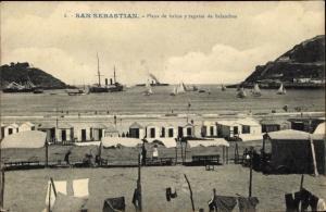 Ak San Sebastian Baskenland, Playa de banos y regatas de balandros