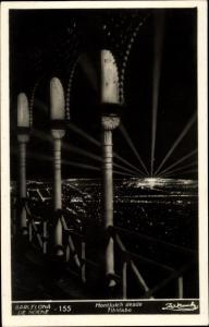 Ak Barcelona Katalonien Spanien, Monjuich desde Tibidabo, noche