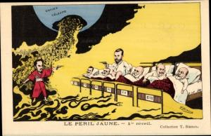 Künstler Ak Bianco, T., Le Peril Jaune, 1er reveil, Karikaturen, Wilhelm II, Zar Nikolaus II