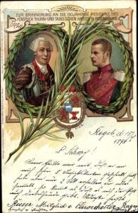 Wappen Litho Fürst Albert von Thurn und Taxis, Fürst Alexander