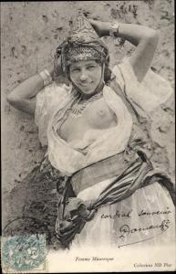 Ak Femme Mauresque, Araberin, Busen, Portrait, Maghreb