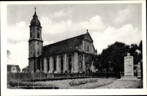 Ak Ringsheim Kippenheim Baden-Württemberg, Kriegerdenkmal und Kirche