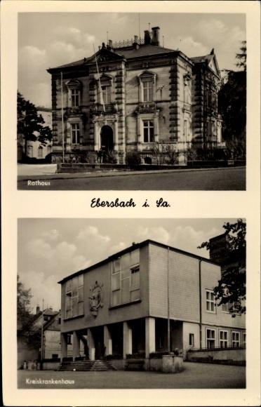 Ak Ebersbach in Sachsen Ebersbach Neugersdorf, Teilansichten, Rathaus, Kreiskrankenhaus 0