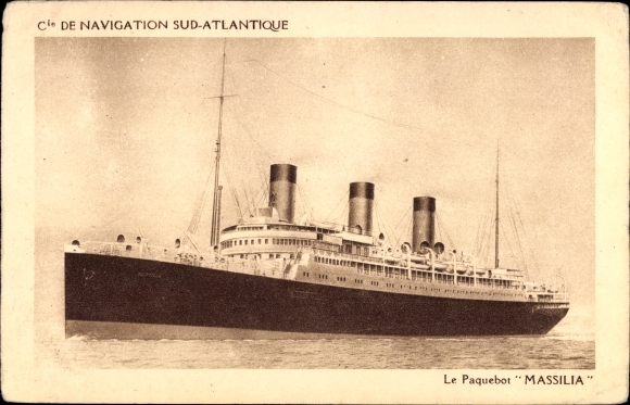 Ak Paquebot Massilia, Compagnie de Navigation Sud Atlantique 0