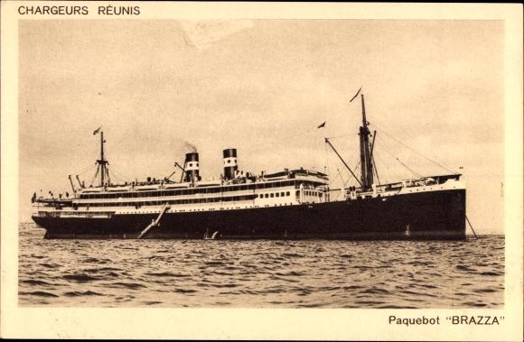 Ak Paquebot, Brazza, Dampfschiff auf See, Compagnie des Chargeurs Reunis 0
