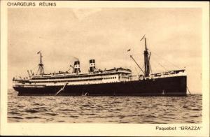 Ak Paquebot, Brazza, Dampfschiff auf See, Compagnie des Chargeurs Reunis