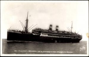 Ak Paquebot Brazza, Dampfschiff auf See, Compagnie des Chargeurs Reunis