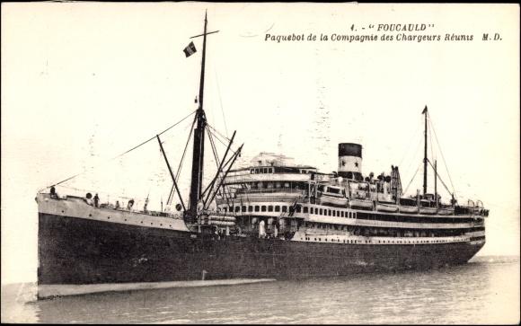 Ak Paquebot Foucauld, Dampfschiff auf See, Compagnie des Chargeurs Reunis 0