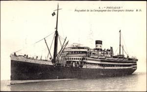 Ak Paquebot Foucauld, Dampfschiff auf See, Compagnie des Chargeurs Reunis