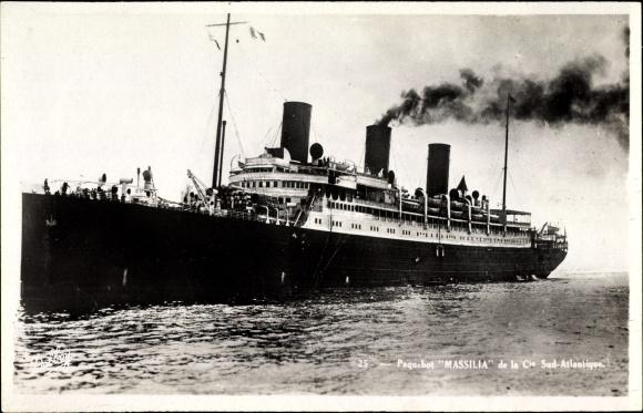 Ak Dampfschiff Massilia, Compagnie de Navigation Sud-Atlantique, Paquebot 0
