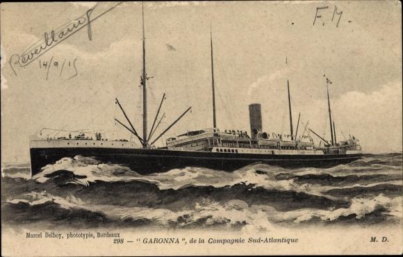 Ak Passagierschiff Garonna auf hoher See, Compagnie de Navigation Sud Atlantique 0