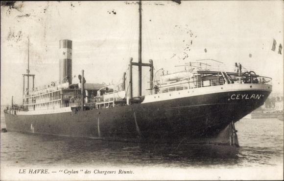 Ak Le Havre Seine Maritime, Ceylan des Chargeurs Reunis, Dampfer 0