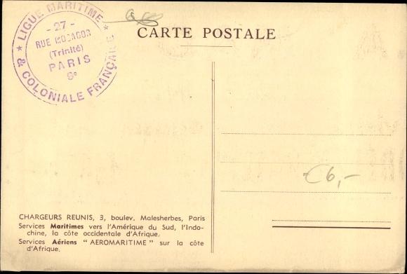 Ak Paquebot Foucauld, Compagnie des Chargeurs Reunis 1