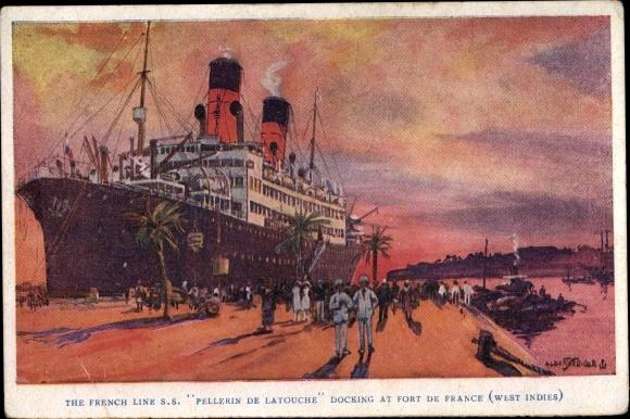 Künstler Ak Fort de France Martinique, SS Pellerin de Latouche docking at the harbour 0
