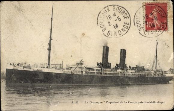 Ak Dampfschiff La Gascogne, Compagnie de Navigation Sud-Atlantique 0