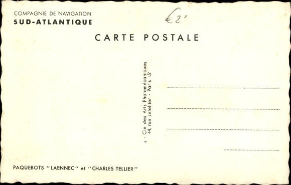 Ak Dampfer Laennec oder Charles Tellier, Cie de Navigation Sud Atlantique 1