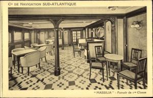 Ak Dampfer Massilia, Compagnie de Navigation Sud-Atlantique, Fumoir de 1re Classe
