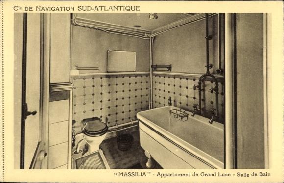 Ak Dampfer Massilia, Compagnie de Navigation Sud-Atlantique, Salle de Bain 0