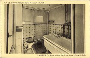 Ak Dampfer Massilia, Compagnie de Navigation Sud-Atlantique, Salle de Bain