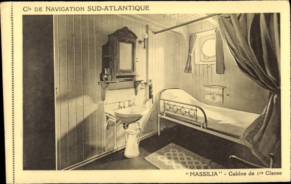 Ak Dampfer Massilia, Compagnie de Navigation Sud-Atlantique, Cabine de 1re Classe 0