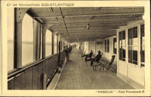 Ak Dampfer Massilia, Compagnie de Navigation Sud-Atlantique, Pont Promenade B