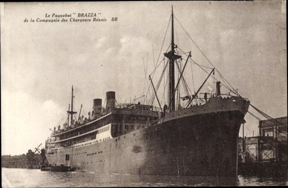 Ak Paquebot Brazza, Dampfschiff, Compagnie des Chargeurs Reunis 0