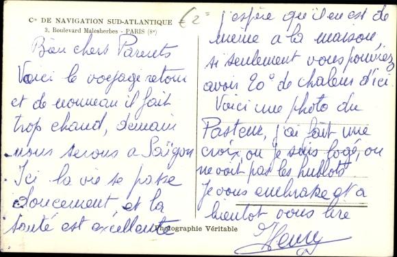 Ak Dampfer Pasteur, Paquebot, Cie de Nav. Sud-Atlantique 1