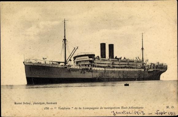 Ak Paquebot Valdivia, Compagnie de Navigation Sud-Atlantique, Dampfschiff 0