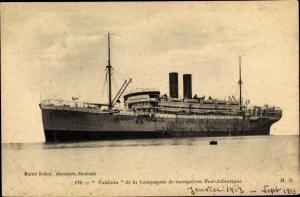 Ak Paquebot Valdivia, Compagnie de Navigation Sud-Atlantique, Dampfschiff