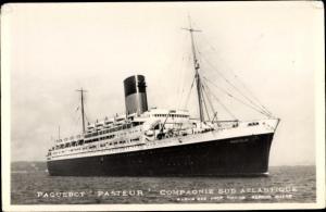 Ak Paquebot Pasteur, Dampfschiff, Compagnie Sud Atlantique