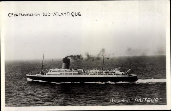 Ak Paquebot Pasteur, Dampfschiff, Compagnie Sud Atlantique 0