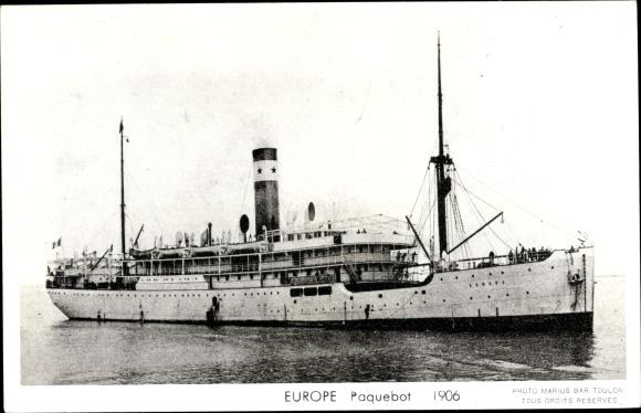 Ak Paquebot Europe, Dampfschiff, Compagnie des Chargeurs Reunis 0