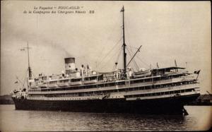 Ak Paquebot Foucauld, Dampfschiff, Compagnie des Chargeurs Reunis