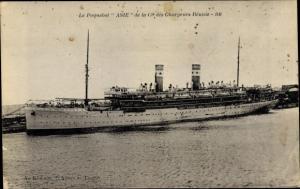 Ak Paquebot Asie, Dampfschiff, Compagnie des Chargeurs Reunis