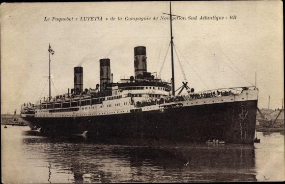 Ak Dampfer Lutetia, Compagnie de Navigation Sud-Atlantique 0